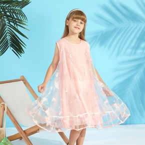 Pretty Kid Girl Butterfly Embroidery Mesh Dress