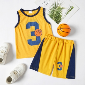 Number and Basketball Print Mesh Tank Top and Shorts Athleisure Set for Toddlers/Kids