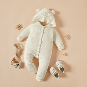 Solid Sweater Long-sleeve Baby Hooded Jumpsuit