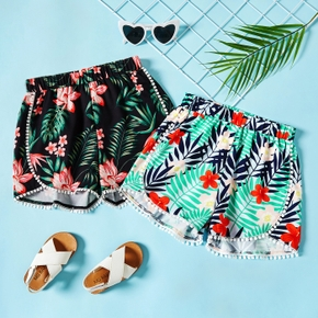 Kid Girl Floral Print Flounced Trimming Casual Shorts