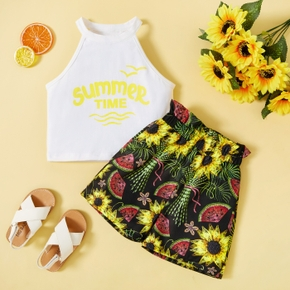 2-piece Toddler Girl Letter Tank and Sunflower Watermelon Floral Print Shorts Set