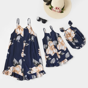 Floral Print Ruffle Decor Sling Rompers for Mommy and Me