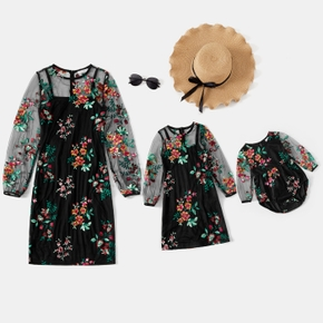 Floral Embroidered Mesh Long-sleeve Matching Black Midi Dresses