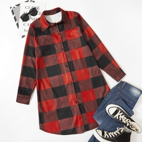 Casual Lapel Plaid Full Print Long-sleeve Shirt