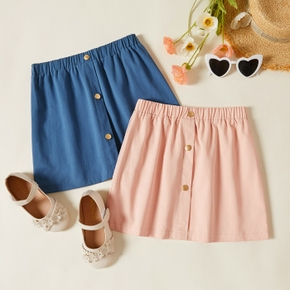 Pretty Kid Girl Button Pocket Pure Cotton Solid Skirt