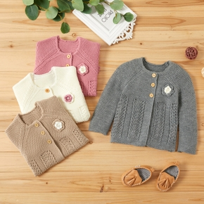 Baby Girl Sweet Flower Decor Knitted Coat