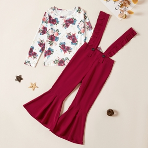 Kids Girl Flower Tee and Suspender Pants Set
