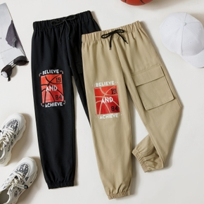Kid Boy 100% Cotton Letter Basketball Print Streetwear (Multi Color Available) Cargo Pants with Pocket
