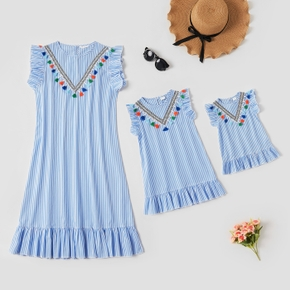 Blue and White Stripe Tassel Print Sleeveless Cotton Mini Dresses for Mommy and Me