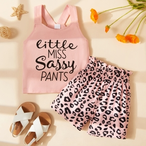 2-piece Toddler Girl Letter Print Top and Leopard Print Shorts Set