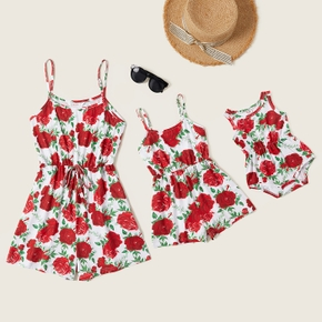 Rose Floral Print Sleeveless Matching Red Sling Shorts Rompers