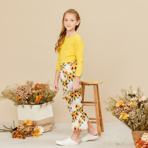 Trendy Solid Longsleeves Tee and Sunflower Allover Print Flared Trouser Set