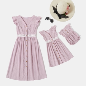 100% Cotton Solid Color Flutter-sleeve Matching Midi Dresses
