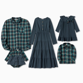 Mosaic Cotton Family Matching Cotton Green Series Sets (Solid Midi Dresses - Plaid Front Button Shirts - Rompers)