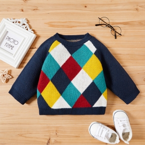 Baby Boy Multicolor Plaid Print Long-sleeve Knit Sweater