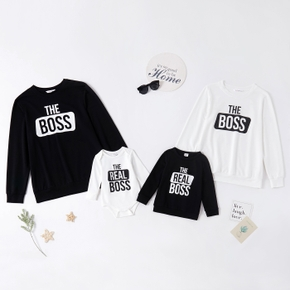 Letter Print Long-sleeve Family Matching Sweatshirts Tops