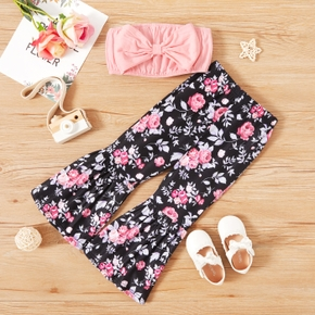 2-piece Toddler Girl 100% Cotton Ruffled Bow Solid Tube Top and Floral Print Flared Pants Set