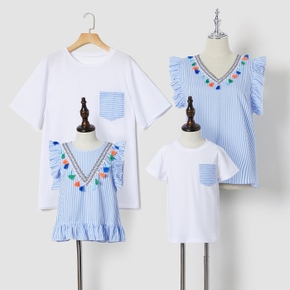 Blue and White Stripe Series Family Matching Cotton Tops(Tassel Sleeveless Tops for Mom and Girl ; Short Sleeve T-shirts for Dad and Boy)