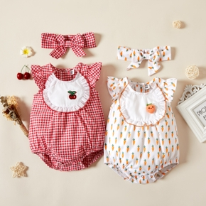 2-piece Baby Girl Plaid/Carrot Print Fruit Embroidery Romper and Headband Set