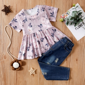 2-piece Baby/Toddler Floral Top and Jeans Set