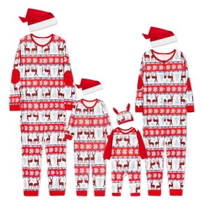 Family Plaid Reindeer Print Onesies Pajamas Within Christmas Hats (Flame Resistant)