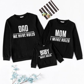Letter Print Long-sleeve Family Matching Black Sweatshirts