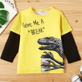 Fashionable Contrast Color Dinosaur Letter Print Long-sleeve Tee