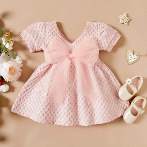 Solid Bow Decor Short-sleeve Pink Baby Dress