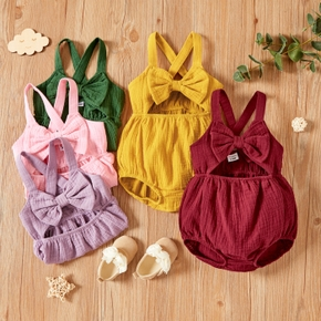 Baby Sleeveless Sweet Bowknot Solid Romper