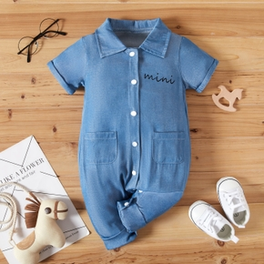 Baby Letter Print Denim Short-sleeve Jumpsuit