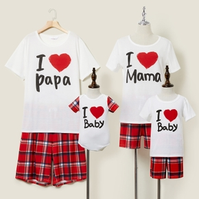 Love Heart Letter Print Top and Plaid Shorts Family Matching Pajamas Sets(Flame resistant)