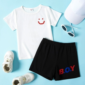 Smile and Letter Print Tee and Shorts Athleisure Set for Toddlers/Kids