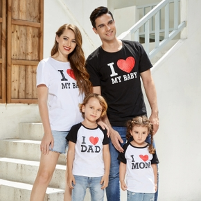 Letter Print Black and White Cotton Family Matching T-shirts(Raglan Sleeves T-shirts for Boy and Girl)