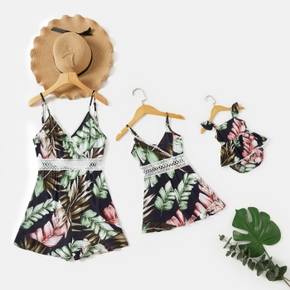 Mommy and Me Floral Print Lace Decor Sling Rompers