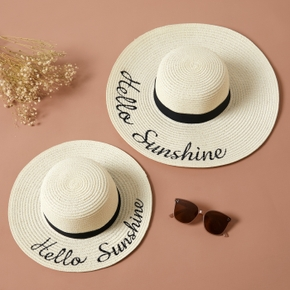 Letter Print Beach Straw Hats for Mommy and Me