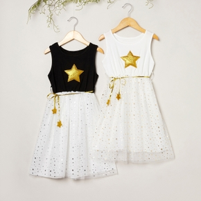 Beautiful Golden Stars Decor Mesh Sleeveless Dresses