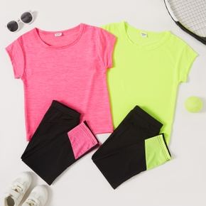Solid Tee and Color Contrast Pants Athleisure Set for Toddlers / Kids