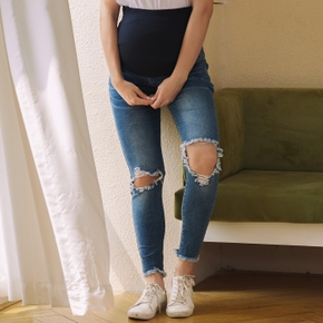 Maternity casual Plain Print Close-fitting jeans