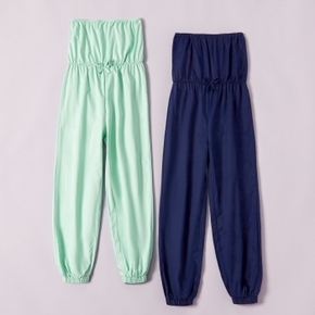 Kid Girls Bloomers Onesies Woven Solid Cotton Jumpsuit