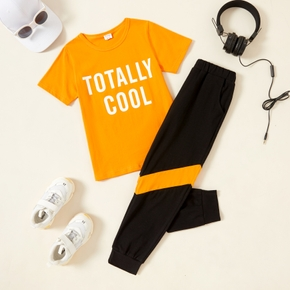 2-piece Kid Boy Letter Print T-shirt and Colorblock Elasticized Pants with Pocket Casual Set
