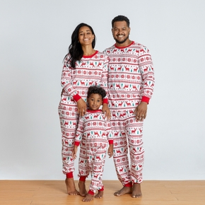 Christmas Reindeer and Snowflake Patterned Family Matching Pajamas Sets(Flame Resistant)