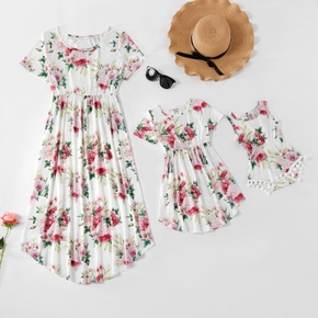 Floral Print Short-sleeve Matching White Midi Dresses