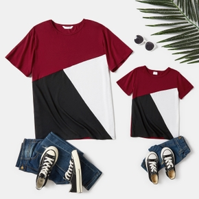 Color Block Short Sleeve T-shirts for Daddy and Me