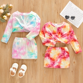 2-piece Toddler Girl Twist Front Tie Dye Long-sleeve Top and Skirt with Pocket Set