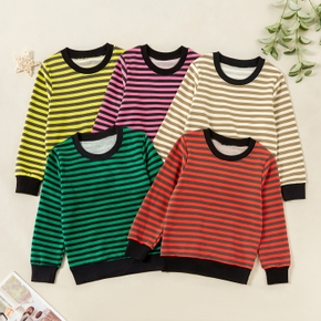 Fashionable Striped Round-collar Sweatshirts