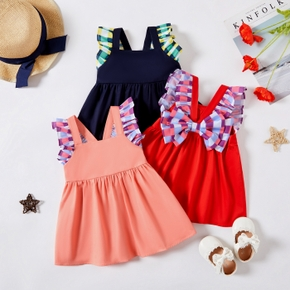 Baby Girl Ruffled Plaid Bow Flutter-sleeve Backless Strappy Dress