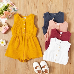 Toddler Girl Comfortable Solid Sleeveless Rompers