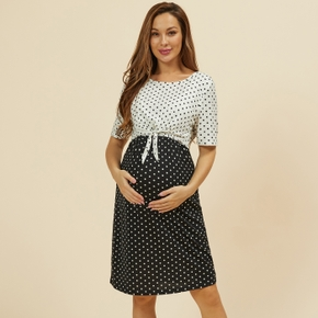 Nursing casual Color Block Polka dot Print Round collar Short-sleeve Nursing Dress
