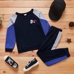 2-piece Kid Boy Vehicle Embroidery Colorblock Long-sleeve Top and Elasticized Pants Sporty Set