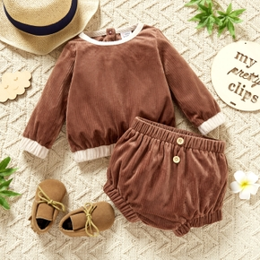 2-piece Baby Girl Back Button Design Ribbed Long-sleeve Top and Elasticized Shorts Set